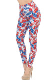 "Partial front/left side view image of our trendy full length Buttery Soft All Over USA Leggings featuring a red, white, and blue all over print of the word ""USA"" against a gray background."