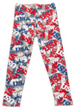 """Front flat view image of our full length Buttery Soft All Over USA Kids Leggings featuring a red, white, and blue all over print of the word """"USA"""" against a gray background."""
