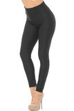 Front view of black Scrunch Butt Textured High Waisted Plus Size Leggings