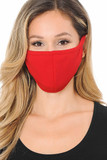 Front view image of Summer Red Scuba Knit Face Mask - Made in the USA with a solid vibrant look.