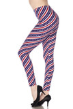 Left side view of our Buttery Soft Spiral Stars and Stripes Leggings with a barber pole striped look decorated with white stars.