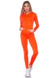 Front view of Neon Orange Premium Zip Up Hoodie Jacket and Legging Set