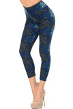 Left side view of Blue Buttery Soft Tangled Swirl High Waisted Capri with a blue, gray, and black swirl design.