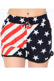 Front view of our Buttery Soft Swirling USA Flag Dolphin Shorts with an elastic tie string waist and a  wrapped red, white, and blue stars and stripes print.