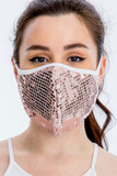 Front view of our rose gold toned Pink Square Bling Sequin Fashion Face Mask - Made in USA