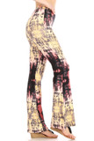 Right side view of Buttery Soft Yellow Pastel Tie Dye Bell Bottom Leggings featuring a pastel yellow design with black and coral accents.