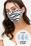 Front view of Zebra Print Fashion Face Mask with Built In Filter and Nose Bar with image illustrating triple layer nanofiber filtration.