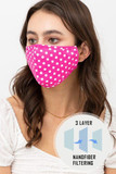 Partial left side/front view of Pink Polka Dot Fashion Face Mask with Built In Filter and Nose Bar