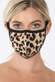 Front of  Leopard Print Face Mask - Imported with a classic brown and black spotted animal print design.