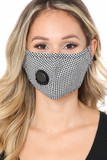 Black checkered Plaid Face Mask with Air Valve