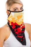 Left side view of Color in Motion Balaclava Face Mask with black ear supports.