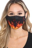 Front view of Fire Graphic Print Face Mask