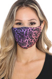 Front view of Ombre Paisley Graphic Print Face Mask