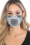Front view of Black and White Blooming Paisley Graphic Print Face Mask