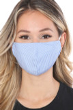 Front view of Blue Thin Vertical Stripe Face Mask - Made in USA