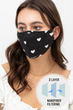 Black Tiny Hearts Face Mask with Built In Micro Filter and Nose Bar