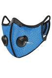 Angled left  front image view of Blue Dual Valve Mesh Sport Face Mask with PM2.5 Filter