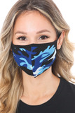 Blue Colorful Camouflage Cotton Face Mask - Made in the USA