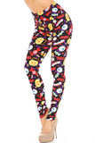 Left side view of Buttery Soft Everything Trick or Treat Leggings showcasing a colorful print of Halloween themed elements