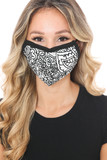 Front view of Black and White Floral Face Mask with a fabulous neutral flower design.