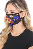 Left side view of Splatter Paint Graphic Print Face Mask