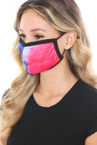 Left side view of Split Tie Dye Graphic Print Fashion Face Mask showing off the fuchsia side.