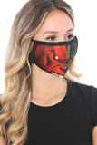 Right side view of Split Hulk Graphic Print Face Mask showing the red side of the design.