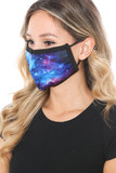Left side view of Blue Galaxy Graphic Print Face Mask