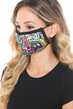 Left side view of Artistic Floral Graphic Print Face Mask