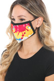Left side view of Colorful Paint Graphic Print Face Mask
