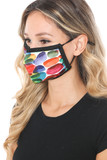 Left side view of Rainbow Watercolor Graphic Print Face Mask