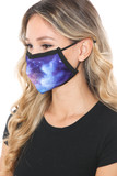 Left side view of Sapphire Galaxy Graphic Print Face Mask