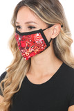 Left side view of Red Melt Graphic Print Face Mask