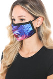 Left side view of Berry Brush Stroke Swirl Graphic Print Face Mask