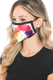 Left side view of Watercolor Swirl Graphic Print Face Mask