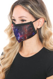 Left side view of Odyssey Galaxy Graphic Print Face Mask