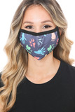 Front view of Animal Tracks Graphic Print Face Mask with a colorful animal foot and paw design.