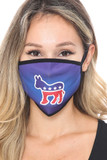 Front view of Democrat Donkey Face Mask with a high quality digital patriotic print