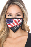 Front view of Trump 2020 Face Mask with a high quality digital print of an American flag and the words Trump 2020.