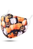 45 degree view of Black and Orange Evil Pumpkins Halloween Kids Face Mask