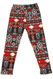 Front flat view of Buttery Soft Red Tribal Kids Leggings with an eye-catching geometric aztec design.