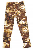 Flat front view image of Buttery Soft Sun Moon Stars Steampunk Kids Leggings with a brown toned mystical design.