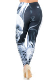 Rear view of Creamy Soft Skeleton Resurrection Extra Plus Size Leggings - 3X-5X - USA Fashion™ showcasing a flattering figure forming fit.
