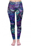 Front view of Creamy Soft Jumbo Purple Sugar Skulls Plus Size Leggings  - By USA Fashion™ with a vibrant day of the dead inspired design.