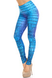 45 degree image of Creamy Soft Vibrant Blue Dragon Leggings - By USA Fashion™ with an all over reptile print.