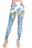 Rear view of Creamy Soft Pristine Peacock Leggings - By USA Fashion™ showing the continued colorful 360 degree design.
