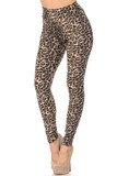 45 degree view of Buttery Soft Feral Cheetah High Waisted Leggings with a classic spotted animal print design.