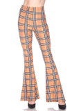 Front view of Buttery Soft Carmel Plaid Bell Bottom Leggings with a light brown, black, white, and red accented designer inspired plaid design.