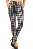 Front view of Red Accent Plaid High Waisted Body Sculpting Treggings with Pockets with an all over black white and red design.