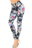 45 degree view of Creamy Soft Delightful Rose Extra Plus Size Leggings - 3X-5X - USA Fashion™ with an all over colorful floral design that contrasts a black background.